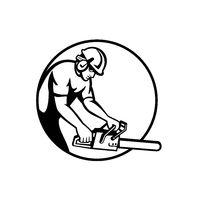 Arborist Tree Surgeon Lumberjack With Chainsaw Circle Retro Black and White