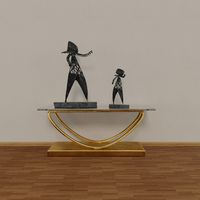 Konsole table with 2 wrought-iron figurines