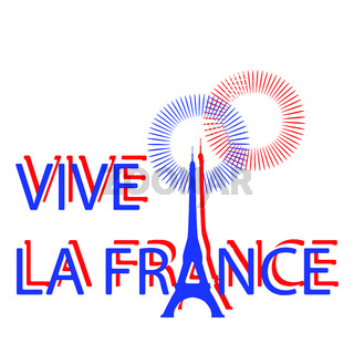 Bastille Day. Eiffel Tower instead of the letter A. Translation of texts in