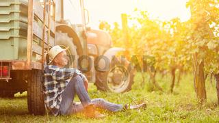 Erntehelfer macht Pause am Traktor im Weinberg