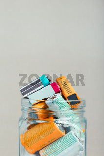 Used batteries collected in a jar