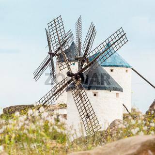 Vintage windmills in La Mancha.
