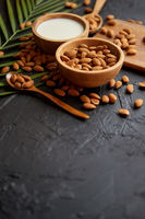 Close up of Almonds in wooden bowl and almond milk
