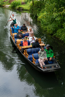 boatsman guiding tourists through the canals in the Spreewald region of Germany
