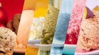 Bunte Vielfalt an Eiscreme und Eissorten als Regenbogen