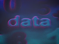 3D word data with digits on striped digital surface.