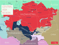 Central Asia region detailed editable map