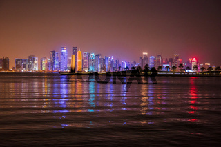 Epic view of Doha skyline at night