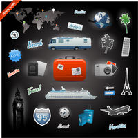 Travel icons elements set
