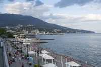 The beach with the tourists in the city of Yalta, Republic of Crimea, Russia. On the evening of September 7, 2020
