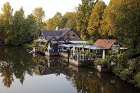 Stader Insel-Restaurant, historic Geest farmhouse, Stade, Lower Saxony, Germany, Europe