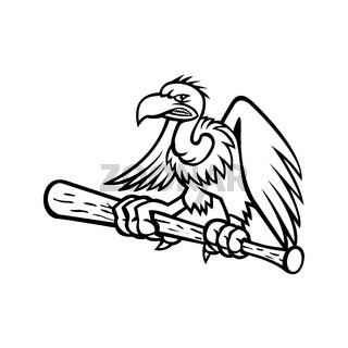 Californian Condor Clutching Perching on a Baseball Bat Mascot Black and White