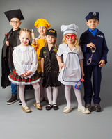 Group of children dressed in costumes of different professions.