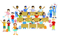Schoolchildren happily together, vector illustration