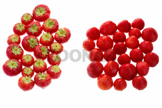 Strawberries Arranged In Two Groups Over White