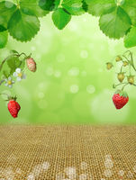 strawberries background berries leaves forest bokeh green