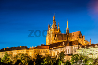 Prague castle during evening hours