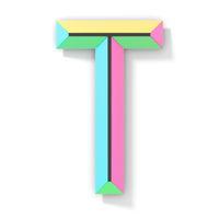 Neon color bright font Letter T 3D