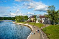People, embankment, Svisloch river, Minsk