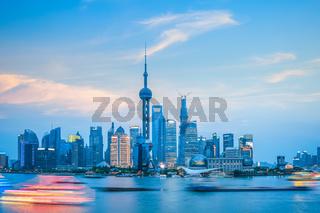 beautiful shanghai skyline at dusk