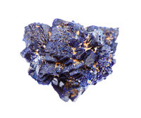 unpolished Azurite mineral crystals isolated