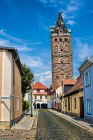 Delitzsch, Germany - 19.06.2019 - old town with a wide tower