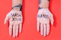Wash your hands and Virus Cleaning and Disinfection concept