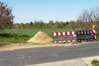 Roadworks with construction site barriers in Germany
