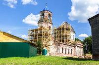 Old orthodox church under restoration at the village