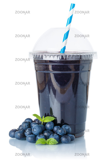 Blueberry smoothie fruit juice drink blueberries in a cup isolated on white