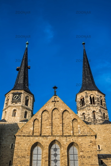 Merseburg, Germany - 06/18/2019 - twin towers of the cathedral