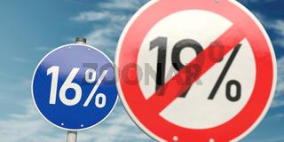 Reduzierung der Mehrwertsteuer in den Deutschland von 19 Prozent auf 16 Prozent