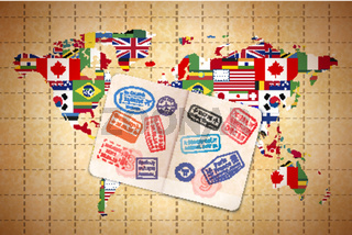 Open foreign passport with international visa stamps on ancient world map with flags on old paper