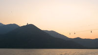 Cable car in Lantau island at sunset