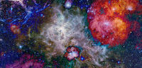 Spiral nebula and light ray in deep space. Elements of this image furnished by NASA