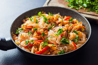 Asian food, glass noodles with vegetables and shrimps