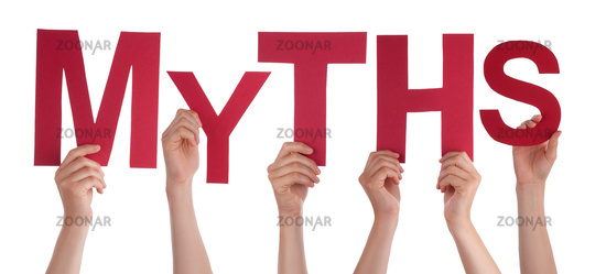 People Hands Holding Word Myths, Isolated Background