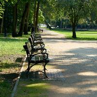 Benches in the public Park Zdrojowy (Spa Park) in Swinoujscie in Poland