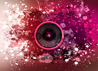Music speaker and paint splatters