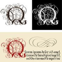 Decorative Gothic Letter Q. Uncial Fraktur calligraphy.