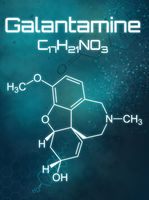 Chemical formula of Galantamine on a futuristic background