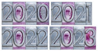 years 2020, 2021, 2022 and 2023 in metal type
