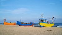Fishing boats on the beach of Rewal on the Polish Baltic Sea coast