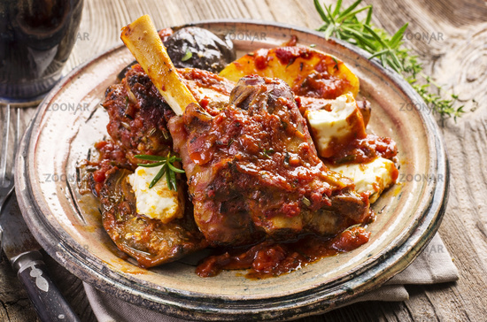 braised lamb knuckle with potato