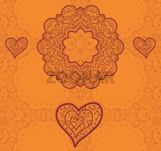 Valentine card design. Ornamental orange vector flyer. Love card. Heart shaped vintage decorative elements. Hand drawn outline mandala. Islamic, arabic, indian, ottoman, asian motifs. Flayer template