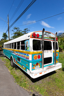 Costa Rica colorful school bus. parked