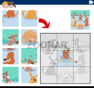 jigsaw puzzle game with cute dog characters