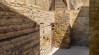 Stone walls of antique building