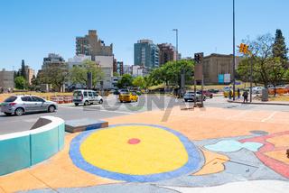 Cordoba Argentina traffic roundabout in Spain square colored pedestrian crossing