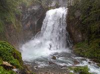 Rain and lots of water at Golling waterfall, Salzburg, Austria
